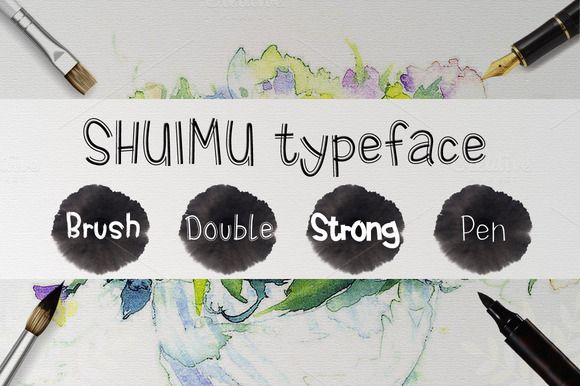 SHUIMU 4 Styles TrueType Font by alphadesign on Creative Market