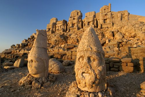 Nemrut Dagi - is a 2,134 m (7,001 ft) high mountain in southeastern Turkey, notable for the summit where a number of large statues are erected around what is assumed to be a royal tomb from the 1st century BCE.