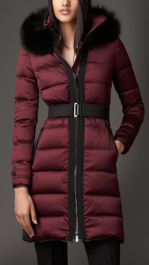 Deep claret Fur Trim Puffer Coat - Image 1