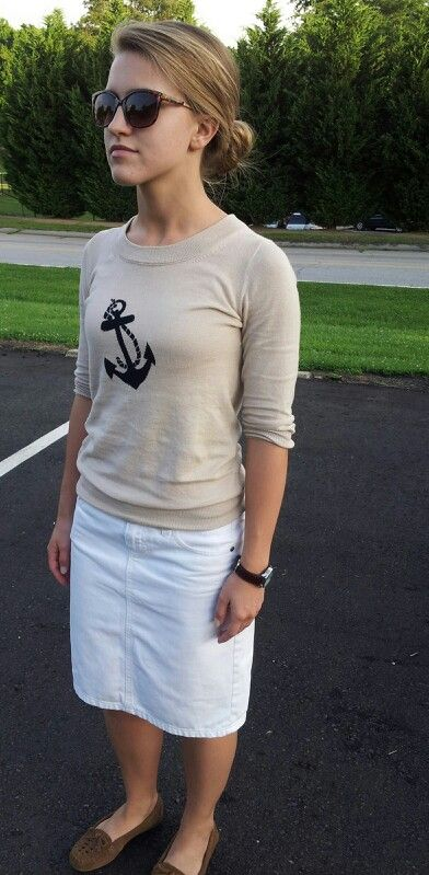 PREPostolic!! Anchors away with white denim skirt and Minnetonka Mocs! Classic Summer in SC.