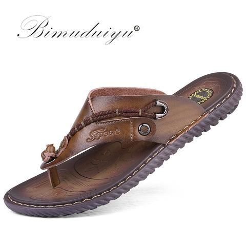 340cc9372 BIMUDUIYU Luxury Brand Flip Flops Soft comfortable Microfiber Leather  Slippers Beach Slipper Flip Flop Summer Shoe For Men From Touchy Style  Outfit ...