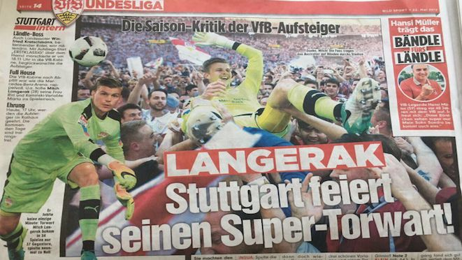 The headline of the local paper says it all. Stuttgart fans 'celebrate their super-keeper', Mitch Langerak, after finishing top of Bundesliga 2, earning automatic promotion to the top flight with final round 4-1 win on the weekend. Langerak played every minute of every game of the season.  24.05.17