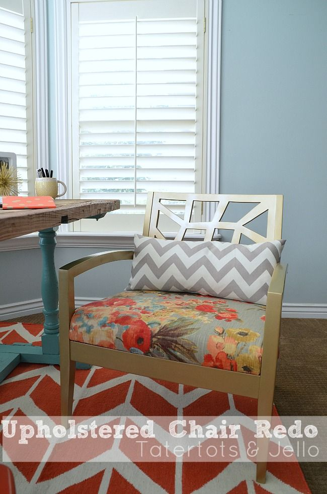 Upholstered Chair Tutorial from @Sam Taylor Cox and Jello .com  with @HGTV HOME fabric #hgtvhomemagic