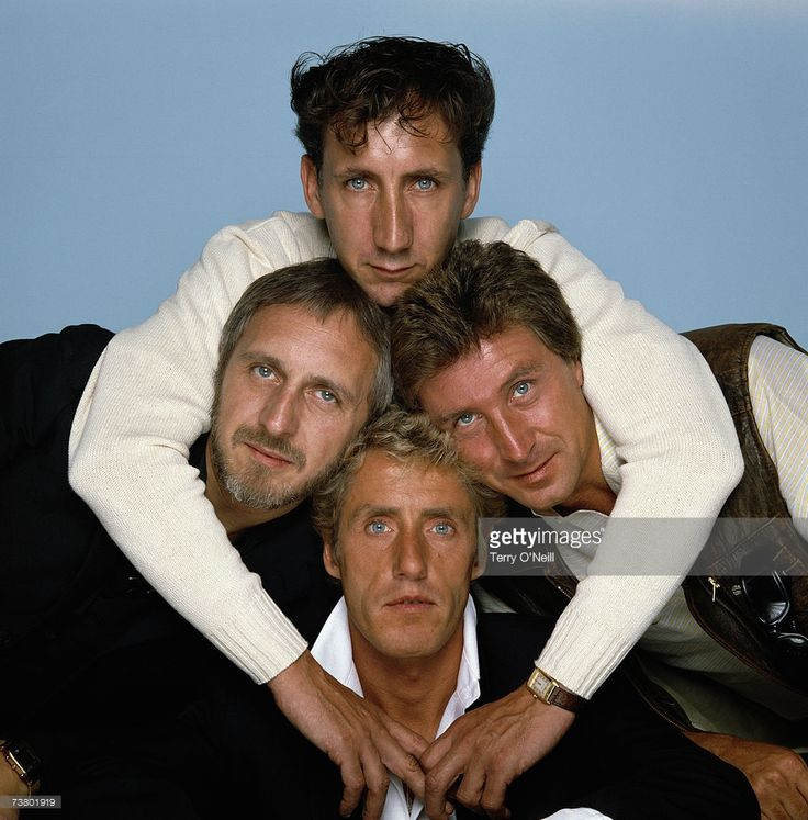 English rock group The Who, circa 1982. Clockwise from top: guitarist Pete Townshend, drummer Kenney Jones, singer Roger Daltrey and bassist John Entwistle (1944 - 2002). Credit: Terry O'Neill