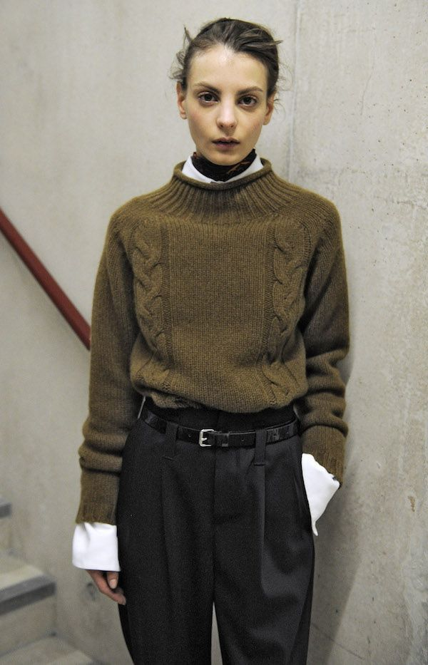Margaret Howell F/W15 -- layered turtleneck sweater, collared shirt, paperbag waist pants #style #fashion