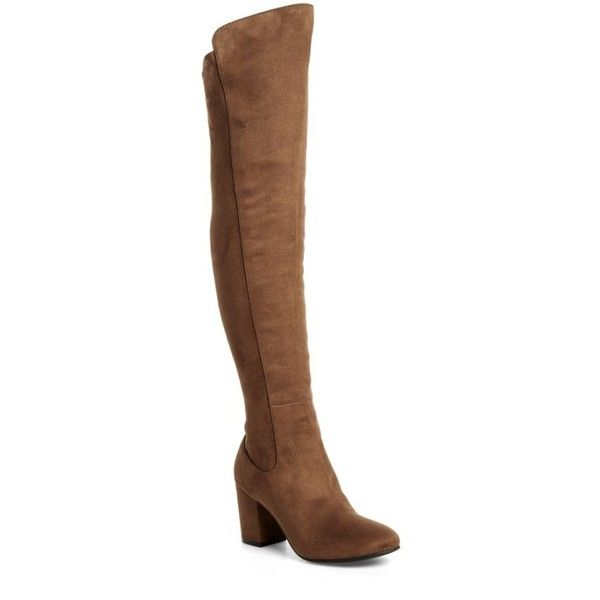 Women's Treasure & Bond Lynx Stretch Over The Knee Boot ($75) via Polyvore featuring shoes, boots, khaki faux suede, stretch thigh high boots, khaki boots, over the knee block heel boots, stretchy boots and block heel thigh high boots