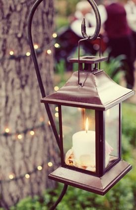 Create a Christmas feel at the lake house with candle lanterns.