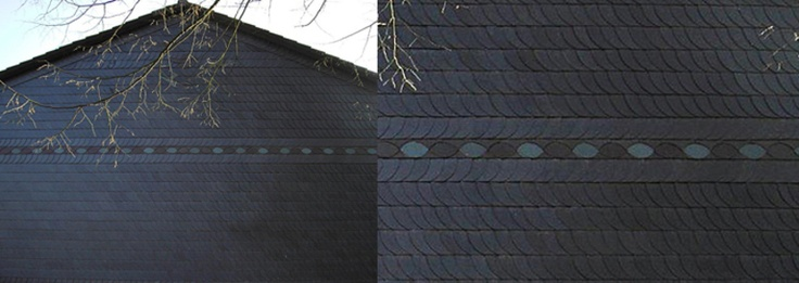Panorama Fassadenverkleidung Deutsche Deckung, Schmuckband und Ornament durch Dirk Walter Bongartz Dachdeckermeister in Düsseldorf (40595)   Dachdecker.com