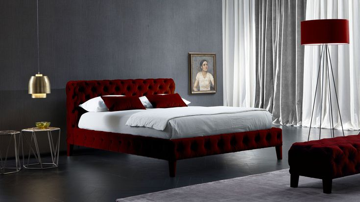 Zuma #bed #red #velvet #fabric #furniture #luxury #Chaarme #design