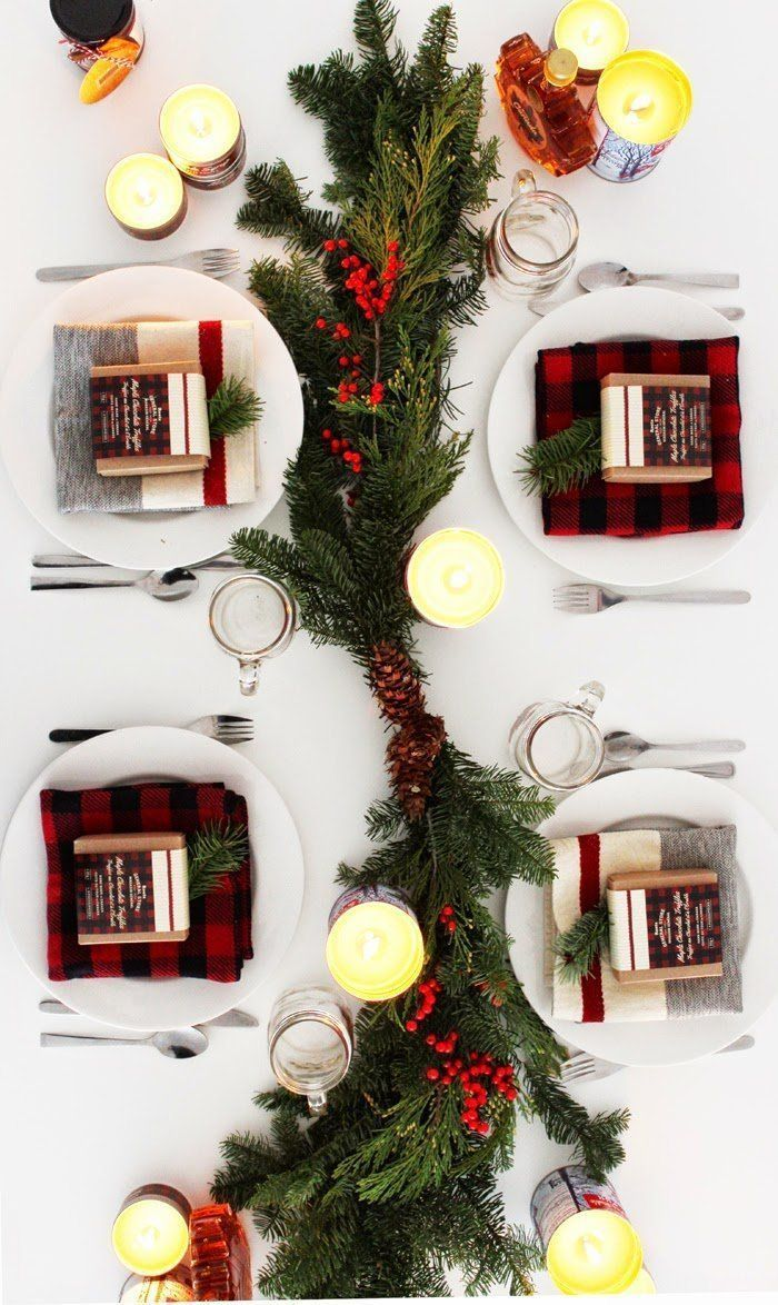 Add mismatched plaid squares to your dinner setting for a unique festive flair: