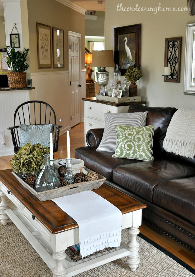 The Endearing Home Family Room Via Savvy Southern Style Feature Leather Neutral Black White Dark Couchbrown Couch Living