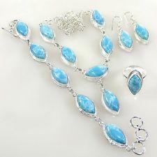 "Carribean Larimar Gemstone 925 Silver Jewelry Necklace Set Size 18""- 14411"