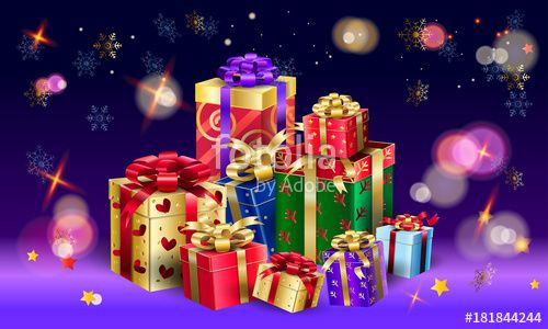 Vector: Gift Box for Christmas and New Year Winter Holiday, celebrate, beautiful bokeh lights background, presents, vector, Boxing Day Sale banner.