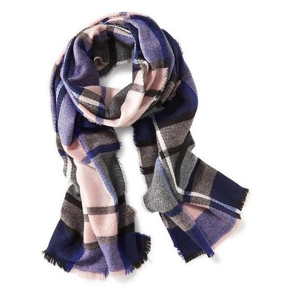 Old Navy Brushed Flannel Scarf ($20) ❤ liked on Polyvore featuring accessories, scarves, big pink plaid, fringed shawls, tartan plaid scarves, plaid shawl, plaid scarves and old navy