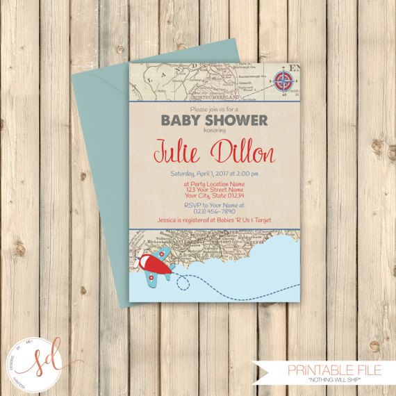 113 best baby shower invitations images on pinterest baby girl travel theme baby shower invitation destination let adventure begin baby sprinkle couples filmwisefo