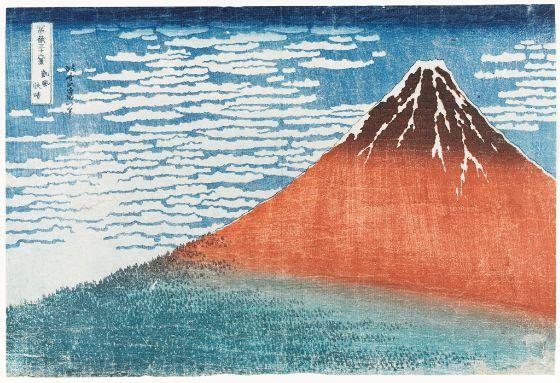 Katsushika Hokusai, Mount Fuji Viewed during a Fine Wind on a Clear Morning (Gaifû kaisei), from the series Thirty-Six Views of Mount Fuji (Fugaku sanjûrokkei), Late Edo period, circa 1829-1833, Harvard Art Museums/Arthur M. Sackler Museum.
