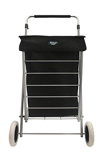 4 Wheeled Shopping Trolley Lightweight Caged With Adjustable Handle Black