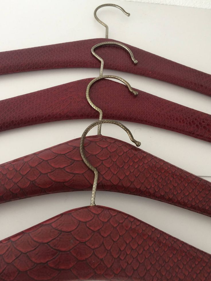 Vintage set of 4 darkred faux leather with snakeprint clothes hangers by MORETHANVINTAGENL on Etsy