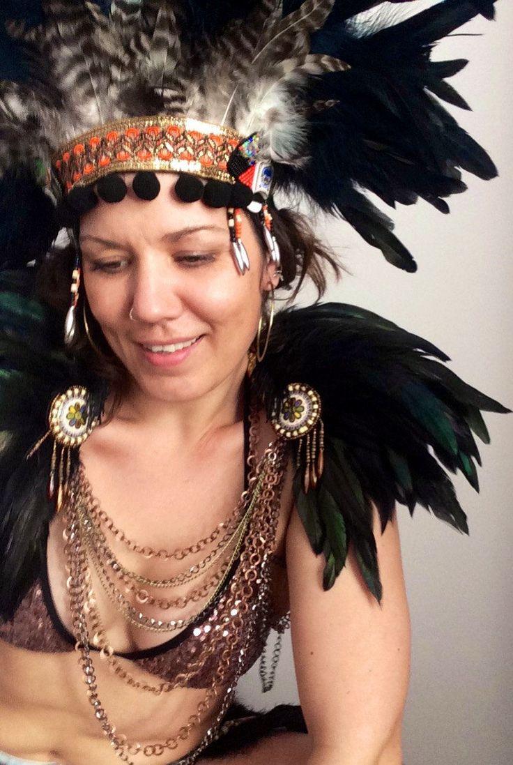 Luxury black feather shoulderpieces, feather festival epaulettes, Burning Man epaulettes, Burning Man capelet, festival wings, Coachella by feathersandthreaduk on Etsy shop www.wildthing.com