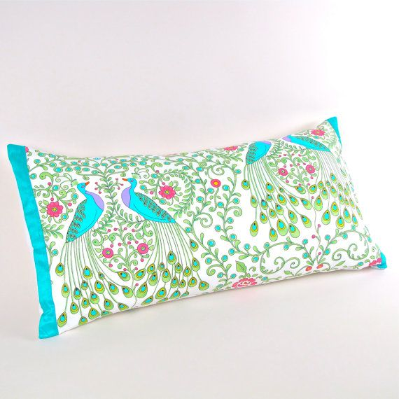 Peacocks Pillow Cover with Aquamarine Silk Trim 12 by MiCasaBella $50.00