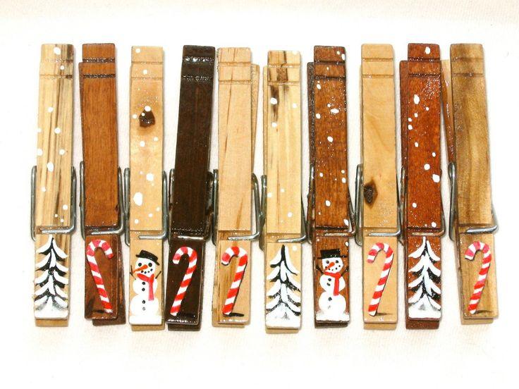 Christmas Clothespins, mollette per il bucato decorate a mano!