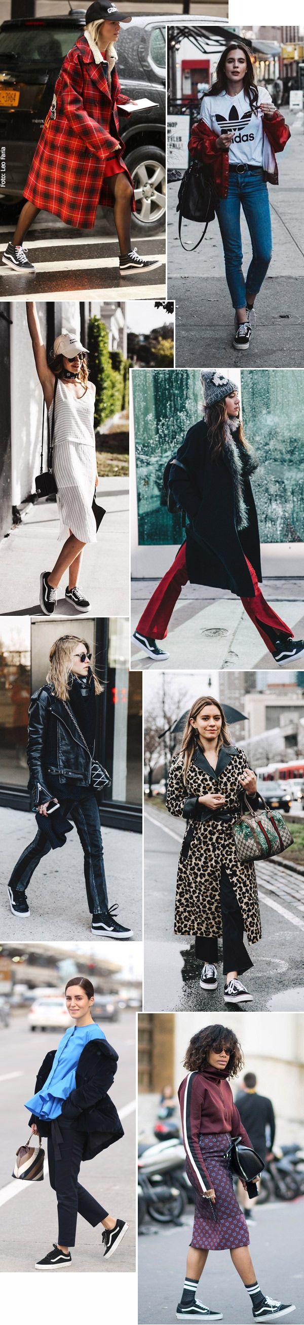 Street style look com tênis Vans.