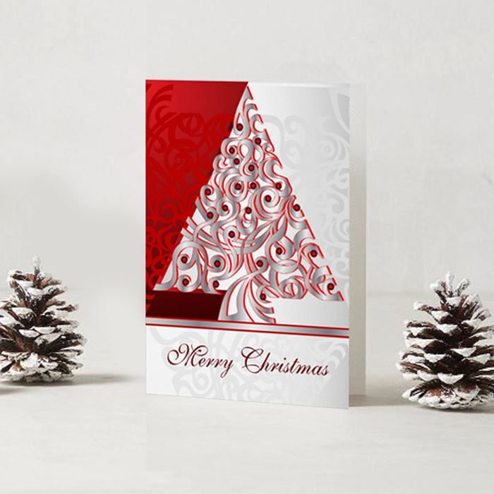 SOLD Greeting Card Merry Christmas! http://www.zazzle.com/greeting_card_merry_christmas-137826752181538262 #Zazzle #Greeting #Cards #Merry #Christmas #red #silver #holiday #tree #decor #decoration #Christmas #MerryChristmas