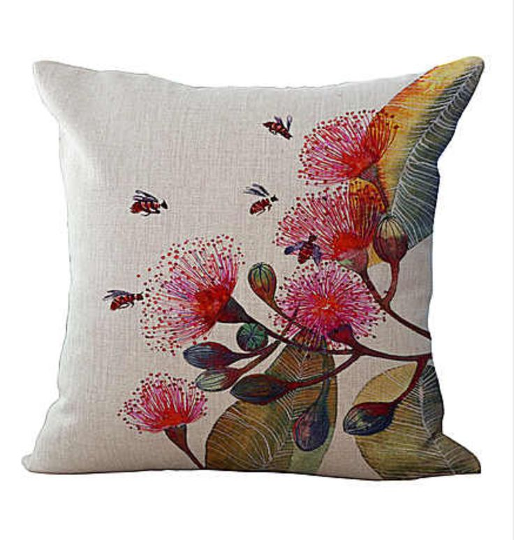 Factory Supply Abstract Flowers And Birds Printing Linen Cotton Pillow Case Home Chair Seat Waist Cushion Cover Wholesale