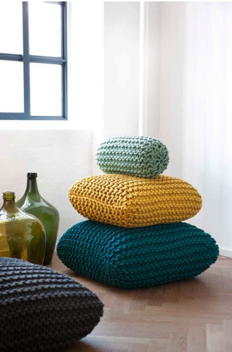 Knitted floor pillows - I'm actually trying to figure out if I dyed some cotton rope...hmmmm...