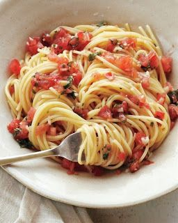 Healthy Summer Recipe – Pasta with Fresh Tomatoes, Basil, Garlic, Olive Oil, and Parmesan Cheese