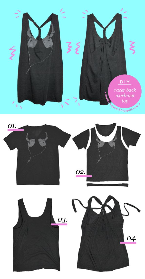 DIY: Racer back work out top tutorial - No sew & takes less than 10 minutes!