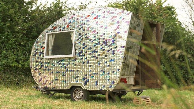 Around 4,000 CDs were used to clad the caravan, which were sourced by Carwyn from a local re-use and recycling centre