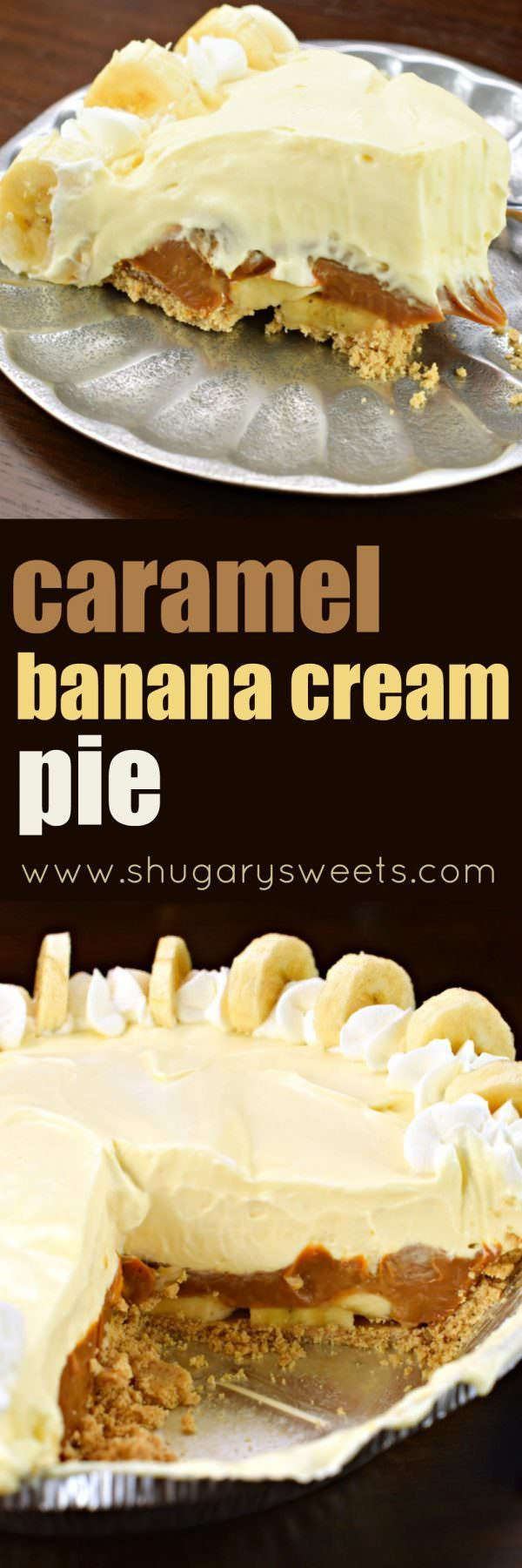 This Dulce de Leche Banana Cream Pie recipe has it all! Graham Cracker crust topped with dulce de leche and bananas with a no bake banana cheesecake filling!