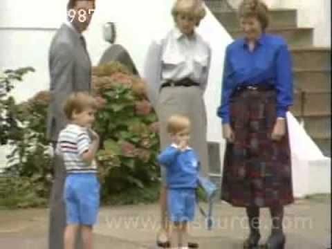 September 16, 1987:  Prince Harry attended kindergarten for the first time, the day after his third birthday. Accompanied by Princess Diana & Prince Charles.