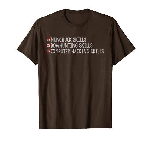 Nunchuck Skills Bow Hunting Skills T Shirt Funny Retro Tee In 2021 Accounting Shirts T Shirt Shirts