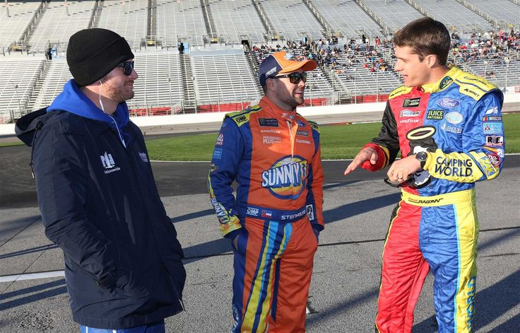At-track photos: Atlanta triple header weekend  Sunday, March 5, 2017  Dale Earnhardt Jr., driver of the No. 88 Nationwide Chevrolet, Ricky Stenhouse Jr., driver of the No. 17 SunnyD Ford, and David Ragan, driver of the No. 38 Camping World/Good Sam Ford, speak on pit road during Friday's qualifying for the Monster Energy NASCAR Cup Series Folds of Honor QuickTrip 500 a ... Read More  Photo Credit: Getty Images  Photo: 33 / 58