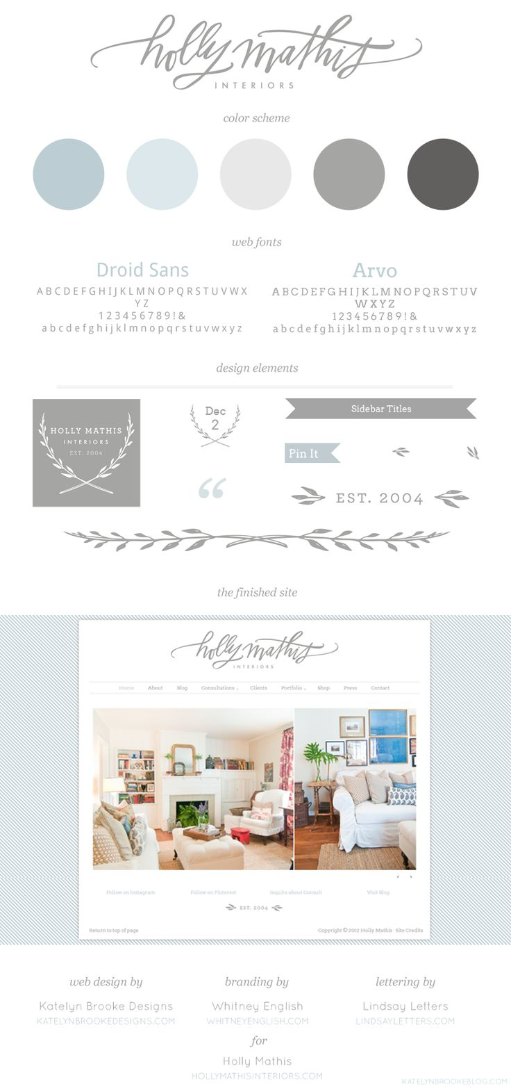 Website breakdown: Holly Mathis Interiors { @Holly Mathis } with branding by @Whitney English and lettering by @lindsay sherbondy