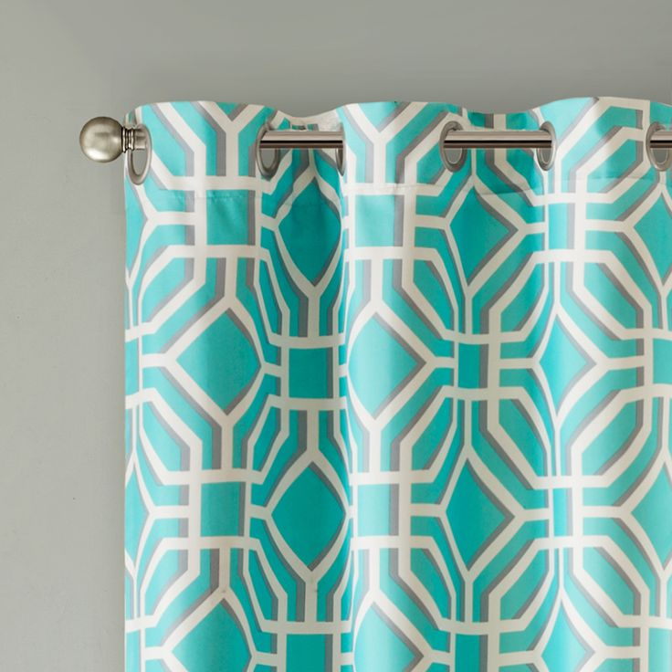 "Diamond fret pattern printed on ultra brushed fabric for soft hand.  Panels are energy efficient to protect your home from heat and cold.  Grommet top detail makes it easier to hang and style panels for a neater appearance.  Grommet detail also offers functionality to open and close panels throughout the day.  Fits up to 1.25"" diameter rod."