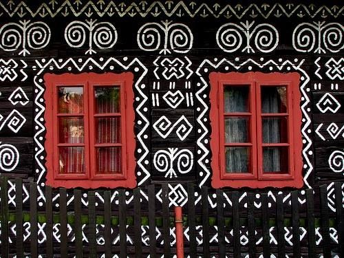 The distinctive village of Cicmany is known for its historic and unique architecture - painted, wooden houses. .