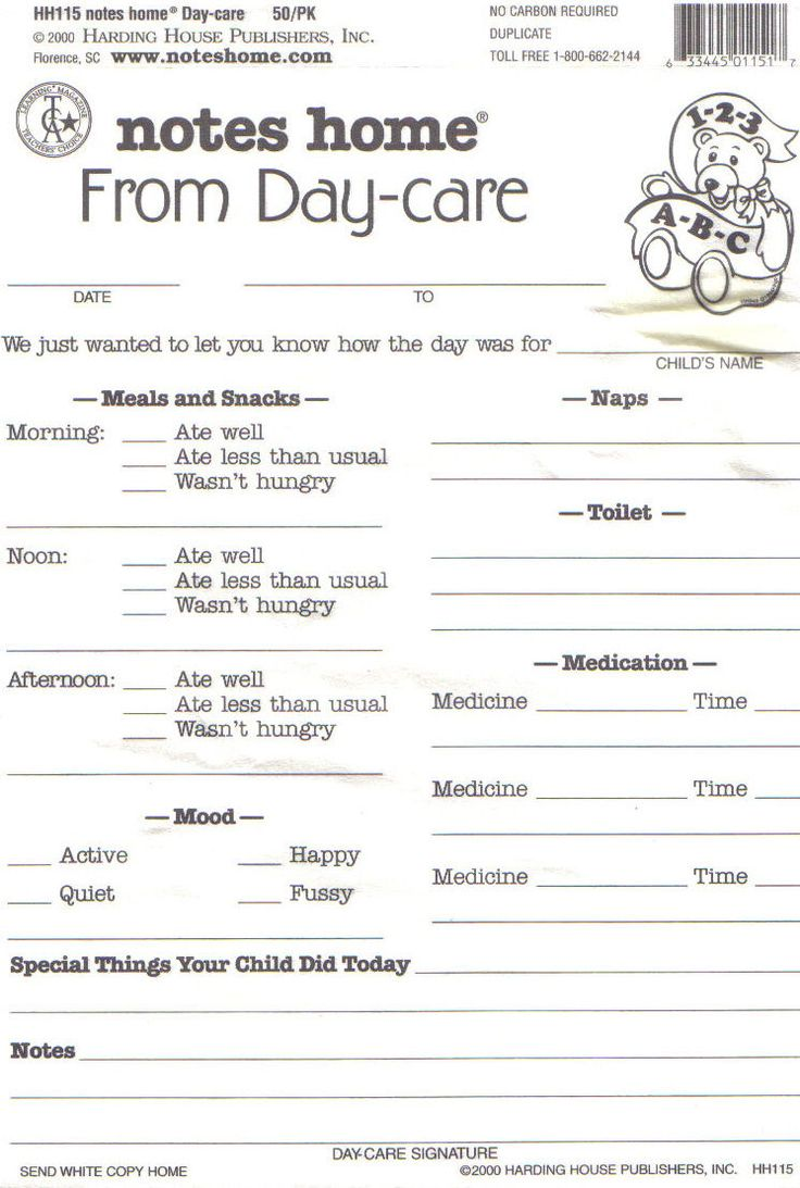 Day Care Infant Daily Report Sheets Printables