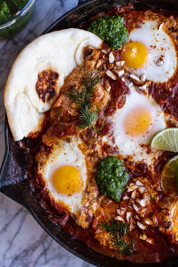 Indian Style Baked Eggs with Green Harissa   Naan | halfbakedharvest.com @hbharvest