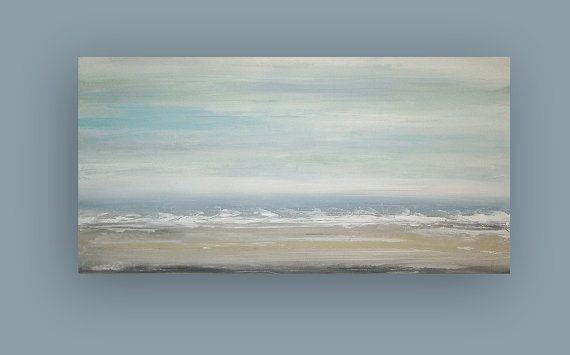 Se trata de una original de una buena pintura abstracta acrílico sobre lienzo de Galería envuelta con sin grapas visibles por Ora Birenbaum.  Se trata de un magnífico paisaje abstracto con tonos apagados muy suaves de la espuma del mar, azul polvorientos, spa azul y blanco que fundirse en un profundo azul polvoriento. La parte inferior tiene múltiples matices de marrón y grises con toques de blanco.   TÍTULO: Nubes de suaves 6 Dimensiones: 24x48x1.5 (aliste para enviar hacia fuera) MEDIO…