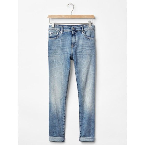 Gap Women AUTHENTIC 1969 Best Girlfriend Jeans ($70) ❤ liked on Polyvore featuring tall jeans, petite stretch jeans, petite jeans, light wash denim jeans and relaxed jeans