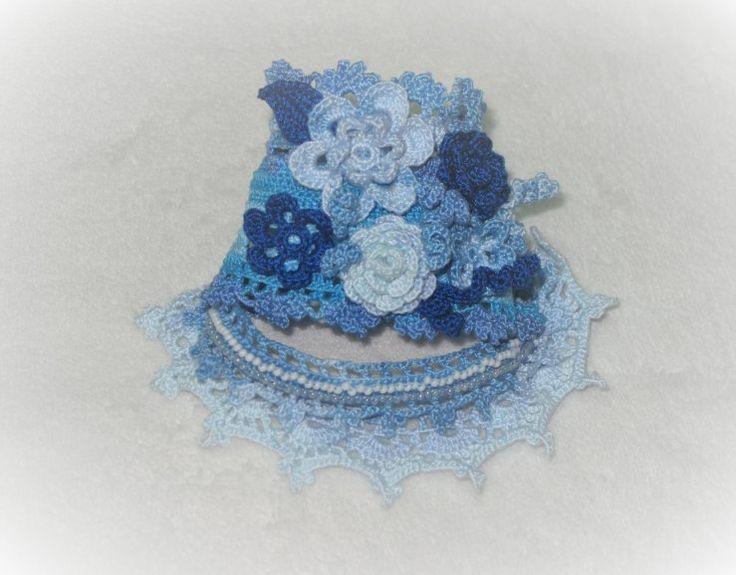 Вязанный браслет в бохо-стиле «Голубой туман» - Ярмарка Мастеров - ручная работа, handmade