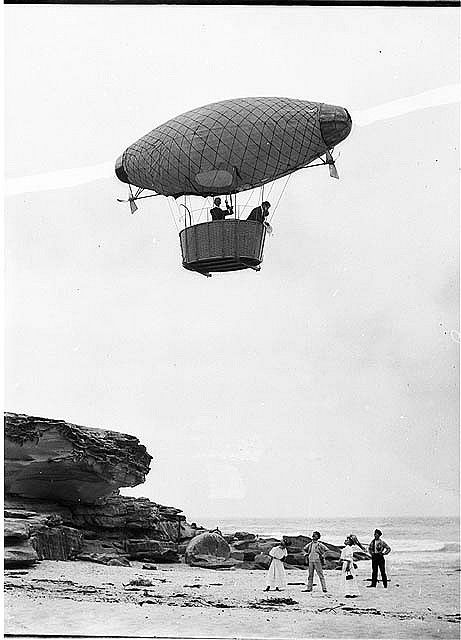 Dirigible over Tamarama, 1908, Hall & Co. by State Library of New South Wales collection, via Flickr