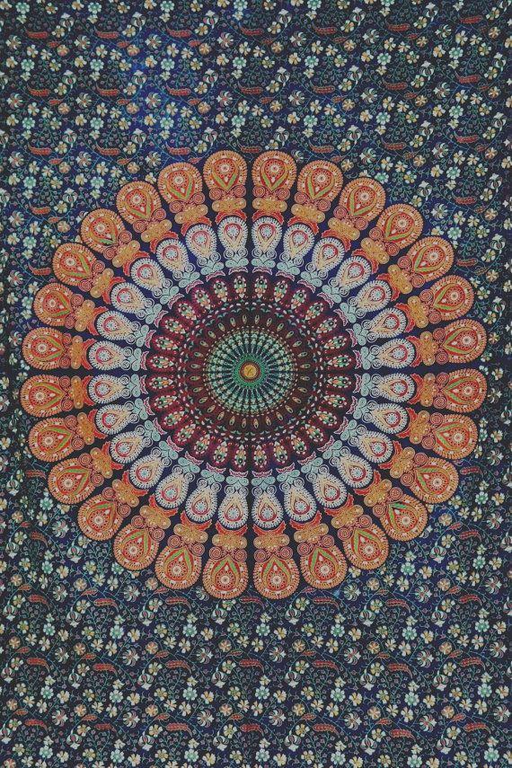 Hippie hippie Tenture murale, tapisserie de Mandala indien jet couvre-lit, dortoir tapisserie, tenture décorative, pique-nique plage feuille