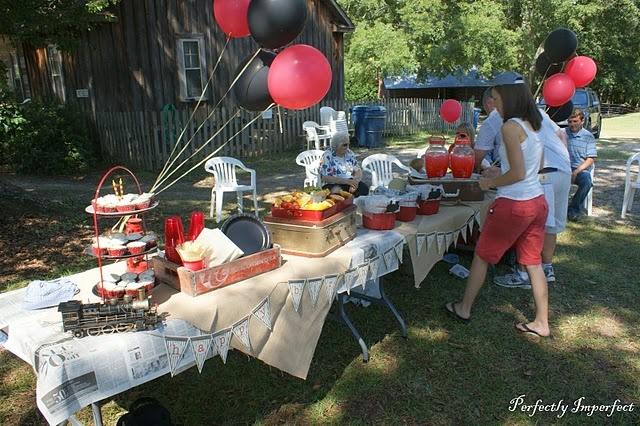 Cute and economical party; used newspaper and burlap for the table cover
