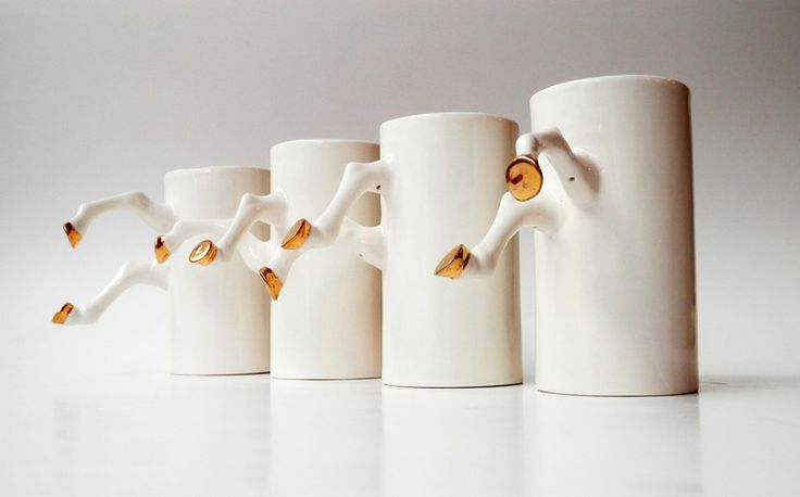 Porcelain Mug  - golden hooves  from Barbara Sniegula by DaWanda.com