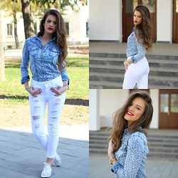 Adopt a fab street chic outfit with this ripped white #jeans and #denim #shirt..:) Items available at www.famevogue.ro  #street #style #outfit #fashion #trends #casual