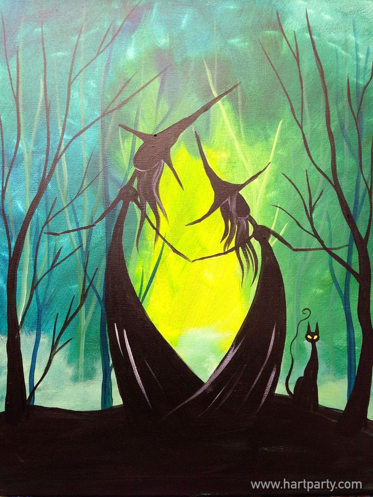 How to paint Adorable Witch sisters and Black Cat in the Green Wood. #lovefallart #cac https://www.youtube.com/watch?v=nX0ELi6ytSQ
